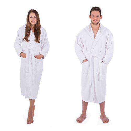 iger Bademantel für Damen & Herren in den Größen S-XXXL und aktuellen Farben - Saunamantel Morgenmantel Baumwolle Weiß S (Damen-bademantel Aus Plüsch)
