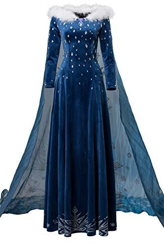 Für Eis Erwachsene Kostüm Prinzessin - Bilicos Damen Prinzessin Kleid ELSA Kostüm Cosplay Abendkleid EIS und Schnee Halloween Fasching Karneval Party Blau XXXL