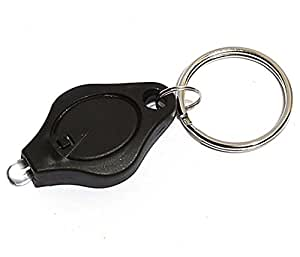 eFuture(TM) Black Mini LED Light Super Flash Bright Flashlight Keychain Key Ring
