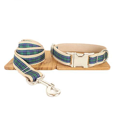 Einfarbige Hundehalsband mit Leine Set Steckverschluss Hundhalskette Verstellbare Hundehalsung Pastell Baumwolle mit Hundeführleine Hundeleine für Klein Mittlere Grosse Hunde (S, grün kariert) (Und-kragen-kariertes Hundeleine)