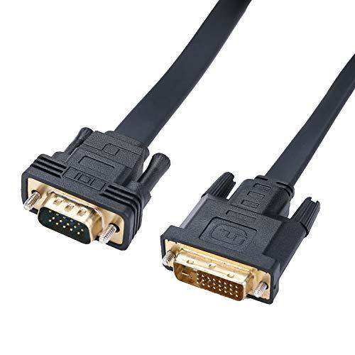 HYZUO Aktive DVI D auf VGA Adapter DVI-D Dual Link 24 + 1 Stecker zu VGA Stecker Video Kabel Konverter Flachkabel 6,5 Fuß -