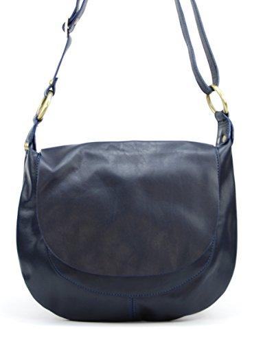 OH MY BAG Sac à Main femmes en CUIR souple italien porté bandoulière Modèle Perla (petit) Nouvelle collection BLEU FONCE