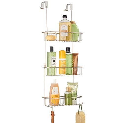 Mdesign portaoggetti per doccia da appendere a porte e ante - pratico scaffale per doccia e vasca da bagno senza forare - mensola doccia in metallo, con tre cesti e due ganci - argento opaco
