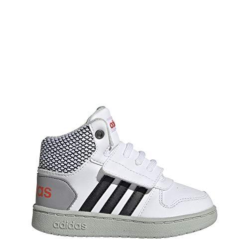 adidas Unisex Baby Hoops 2.0 Mid Sneaker, Weiß (Footwear White/Core Black/Ash Silver 0), 23 EU