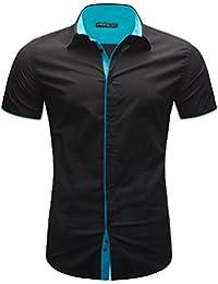 MERISH Slim Fit chemise homme manches courtes chic et décontracté bicolore adapté aux affaires, de loisirs et d'événements festifs, Modell 112