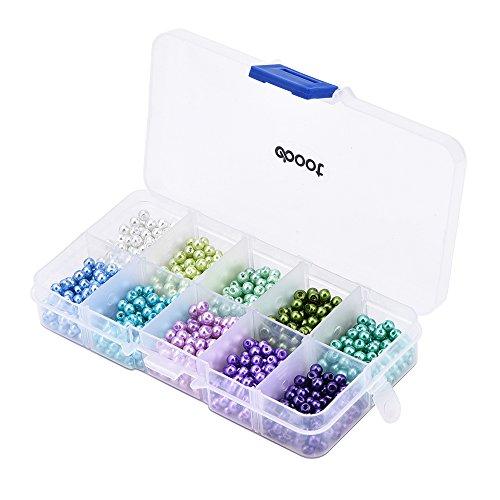 eBoot 1000 Parti,4 mm Perline Perle di Vetro Perle Rotonde con La Scatola per Fare Gioielli, Mix di Colori