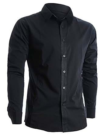 FLATSEVEN Mens Slim Fit Basic Dress Shirts Long Sleeve (SH400) Black, M