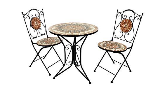 Kobolo Tischgruppe MOSAIK 1 Tisch rund 2 Klappstühle Metall Mosaik schwarz terrakotta