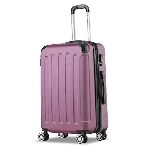 Flexot 2045 Koffer - FarbeLila (Violett) Größe L Hartschalen-Koffer Trolley Rollkoffer Reisekoffer 4 Rollen