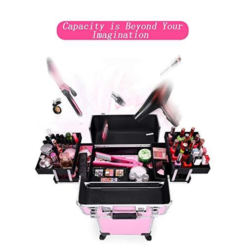Mhxzkhl Trolley Make up Kosmetikkoffer Nail Art Koffer Box Kofferorganizer mit 4 Rädern - 34 x 25 x 73 cm,Pink