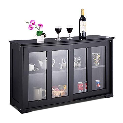 Costway armadietto da cucina mobile laterale multiuso con ante scorrevoli, in mdf e vetro, 106,5 x 33 x 62,5 cm (nero)