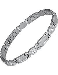 Magnet-Powerarmband, Magnetschmuck-Gliederarmband Lady Silber Zirkonia von SABONA OF LONDON®, Premium Qualität & Design seit 1960