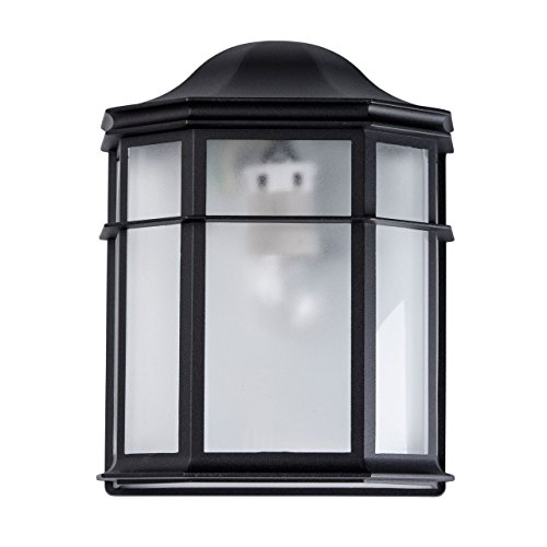 Klassische Außenwandleuchte 1 flammig schwarzes Metall transparentes Acryl Außenbereich sanftes Licht Terrasse Garage exkl. 1*40 W E27 2700K (5 Regenbogen-akzenten)