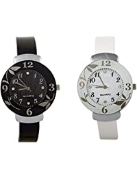 Shree Enterprise White & Black Quartz Analogue Watch | Combo Of 2 Watches | Beautiful Case With Golden Flower...