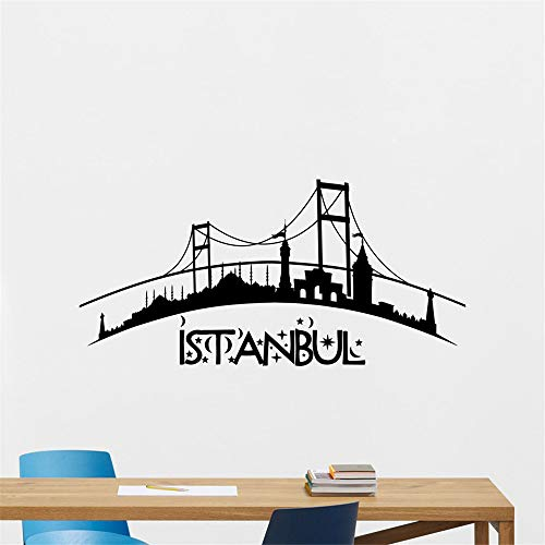 wlwhaoo Istanbul Skyline Wandtattoo Stadt Vinyl Aufkleber Kunst Schlafzimmer Türkei Dekor Muster Wand Tattoo Wohnzimmer Sofa Hintergrund weiß 86x42cm (Dekor Die Türkei)
