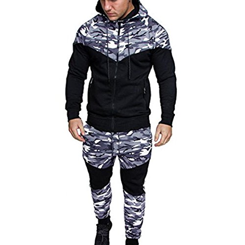 SUCES Männer Herbst Frühling Camouflage Sweatshirt Top Hosen Sets Sport Anzug Trainingsanzug Hooded Zip-Front Arbeits Kapuzenjacke Herren Sweatjacke Zip Hoodie Kapuzenjacke Militär (L, Black) Front-zip-hoodie