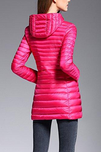 Les Femmes Les Plus Outerwaer Éclair Intégrale À La Taille Des Parkas Manteaux Avec Des Poches RoseRed