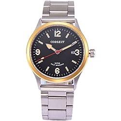 corgeut Saphirglas Automatisches Handgelenk Armbanduhr für Männer Edelstahl Gurt
