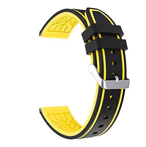 Fmway 22mm Silikon Uhrenband Ersatzarmband mit Edelstahl Metall Schließe für Samsung Galaxy Watch 46mm / Gear S3 Frontier/Gear S3 Classic/Moto 360 2. Generation 46mm / Amazfit (Schwarz + Gelb) - 46 Silikon