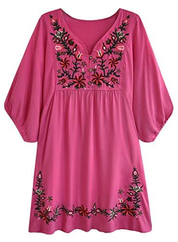 rkleid Bohemian Stickerei Floral Tunika Shirt Bluse Flowy Minikleid (XL, 02 Hot Pink) ()
