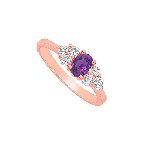 Oval Amethyst and CZ Trios Engagement Ring 2CT TGW - Ring Engagement Cz 2ct