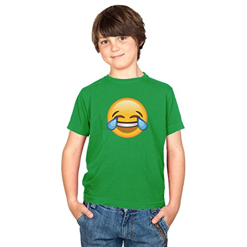 TEXLAB - Tears of Joy Emoji - Kinder T-Shirt, Größe XS, grün