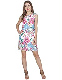 c718c90838 My Swag Women s Flower Printed Round Neck Sleeveless Mini Length A-Line  Dress