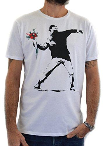 Faces T-Shirt Herren Street Art Banksy Flower Thrower Handserigraphie mit Wasser (XL Herren) -