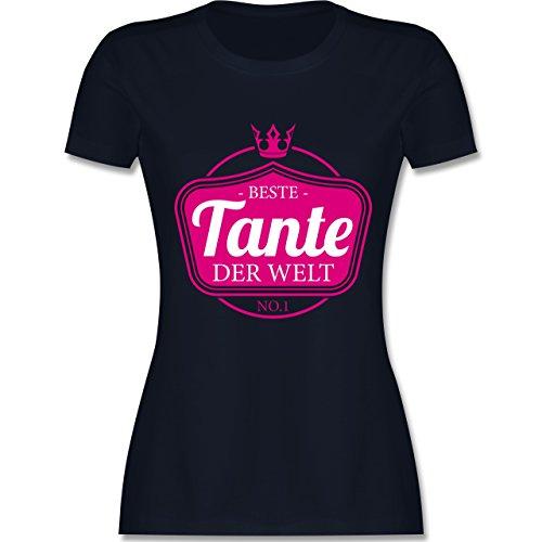 Shirtracer Schwester & Tante - Beste Tante der Welt - Damen T-Shirt Rundhals Navy Blau