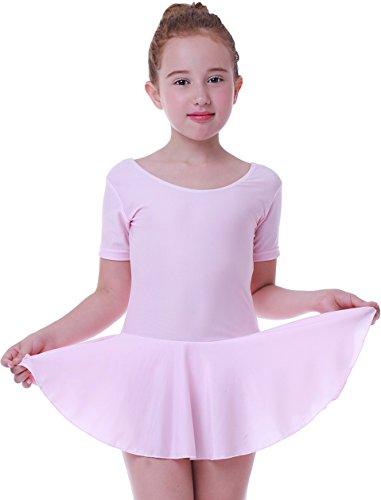 Mädchen Ballett Tutu Tütü Balletkleid Kindertanzkostüme Trikots Tanz Leotards Kleider(Kurze ärmel rosa, Höhe 135cm) (Kinder Ballett Tutus)