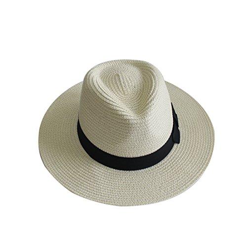 YUUVE Sommer Strohhut Panamahut mit moderner schmaler Krempe Filzhut Sonnenhut für Damen und Herren