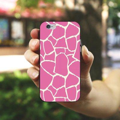 Apple iPhone 5s Housse Étui Protection Coque Girafe Rose vif Imprimé animal Housse en silicone noir / blanc