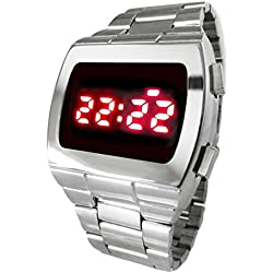 70s STYLE Retro LED Watch 2013 Super Bright Vintage Style Chrome Silver Digital TX08 Red Multi function