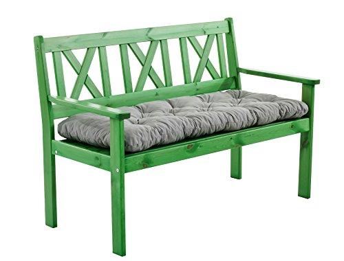 Ambientehome 90416 - Banco de madera maciza banco de jardín evje banco de madera banco de 1,2 metros de nuevo color verde incl. sitzkissen