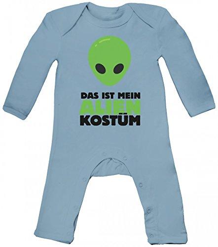 Karneval Verkleidung Baby Strampler Langarm Schlafanzug Jungen Mädchen Das ist mein Alien Kostüm 2, Größe: 12-18 Monate,Dusty Blue (Aliens Baby Kostüm)
