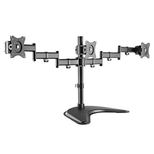 RICOO Universal Monitor Halterung 3 Bildschirme TS7511 Schwenkbar Neigbar Triple Monitorhalterung Tischhalterung LCD LED TFT Curved Bildschirmhalterung VESA 75x75 100x100 33-69cm 13-27 Zoll Schwarz
