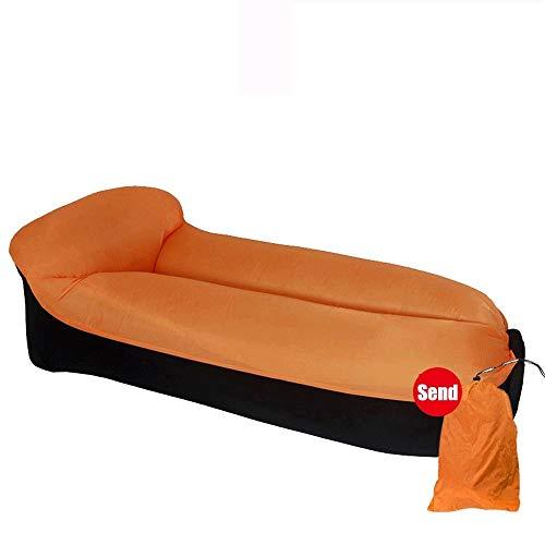 LIXIATIAN Tragbares wasserdichtes und atmungsaktives faules aufblasbares Sofa im Freien, das Haar-Luft-Bett kampiert (Color : Orange)