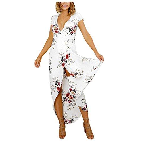 rauen gedrucktes kurzes Hülsen-Kleid-Weiß (XXL) ()