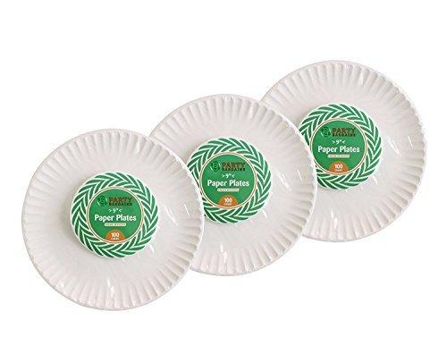 (Party Bargains | Heavyweight & Premium Qualität Geschirr für Geburtstage, Jubiläen, Grillpartys und mehr 9 Zoll weiße Platten | 300 Zählung)