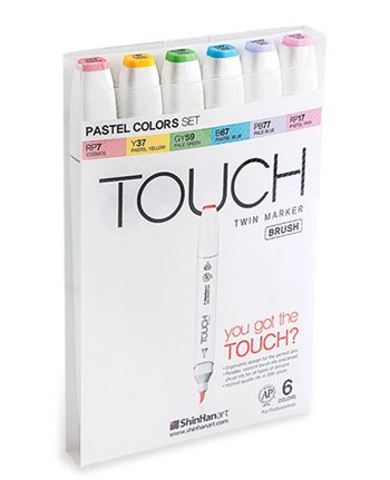 Touch Brush Marker Pastel Colors 6er Set - Twin Brush