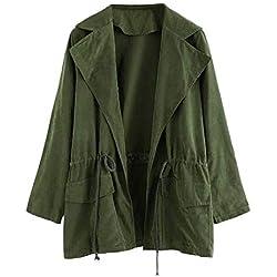 TWBB Damen Herbst Winter Mantel Outwear Jacke Lose Einfabige Umlegekragen