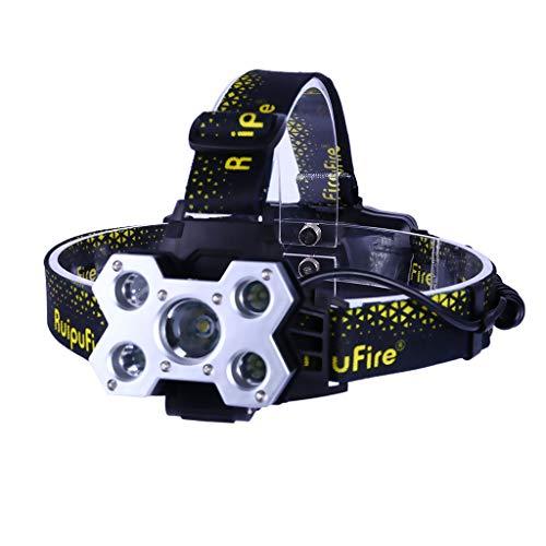 Makalon 5X XM-L T6 Ultra Helle Lumen Taktische Stirnlampe Wiederaufladbar Taschenlampe Einstellbare Wasserdichte Tragbare Notfall Tac Licht für Radfahren Camping Angeln Kopflampe
