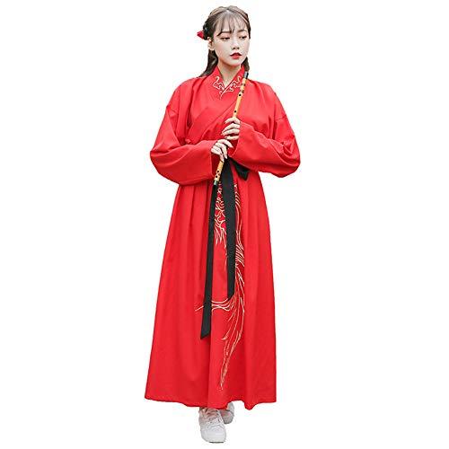 Handu yifu Chinesisches Paar Chinesische Kleidung - Chinesisches Traditionelles Kleid Tang Anzug Retro-Stil Elegante Prinz Prinzessin Rollenspiel Hochzeitstanz Drama Kostüm Set,Red,XXXL (Prinz Prinzessin Paar Kostüm)