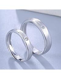 Serired Anillo Ajustable Moda Plata S925 confesión de Amor Largo Simple Parejas Pares 1 al Matrimonio Anillos…