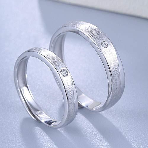Lozse Einstellbarer Ring S925 Silber Mode einfach Lange Liebesbekundung Paare 1 Paar Ringe Männer und Frauen allgemein Ehe, Geburtstagsgeschenk