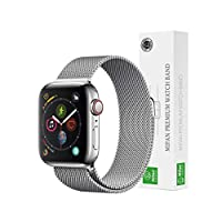 Mifan Official Milanese Loop Band for Apple Watch 44mm/42mm Series 1/2/3/4 Replacement Strap Silver Mesh Stainless Steel Anti Sweat Cooling Wristband Bracelet with Magnetic Clasp