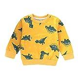 MRULIC Baby Mädchen und Jungen Coole Pullover Tops T-Shirt Jumper Herbst Frühlings Langarmshirt Langhülse Outfit Kleidung(Gelb,Höhe:135-140CM)