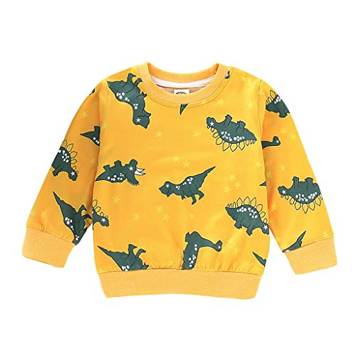 Janly Kleinkind Baby Mädchen Jungen Cartoon Dinosaurier Print Pullover Tops T-Shirt Kleidung Dinosaurier-Druckspitzenstrickjacke der Kinder (90, Gelb) -