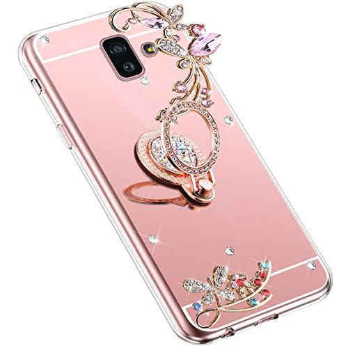 Uposao Kompatibel mit Samsung Galaxy J6 Plus 2018 Handyhülle Strass Diamant Bling Glitzer Spiegel Schutzhülle Mirror Case Schmetterling Blumen Silikon Hülle Tasche mit Ring Halter Ständer,Rose Gold