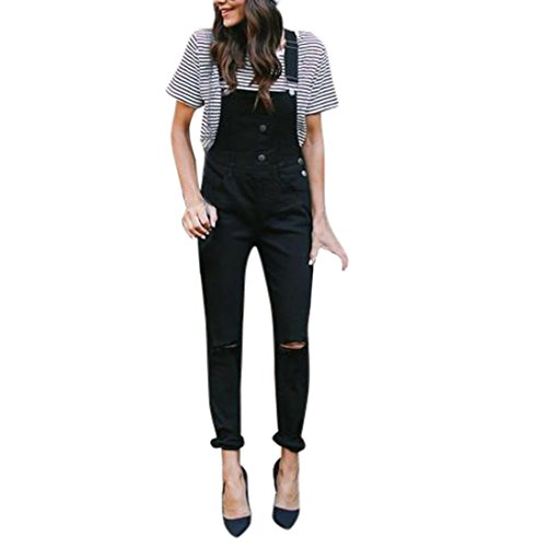 Hffan Damen Klassisch Latzhose Jeans Reizvolle bodycon Skinny Hosenträger jeans Straight Leg stretch Denim Hole Bib Hosen Spielanzug Jumpsuit Overall mit Knöpfen Jeans Demin Trousers (Schwarz, M) (Passform-jeans-latzhose)